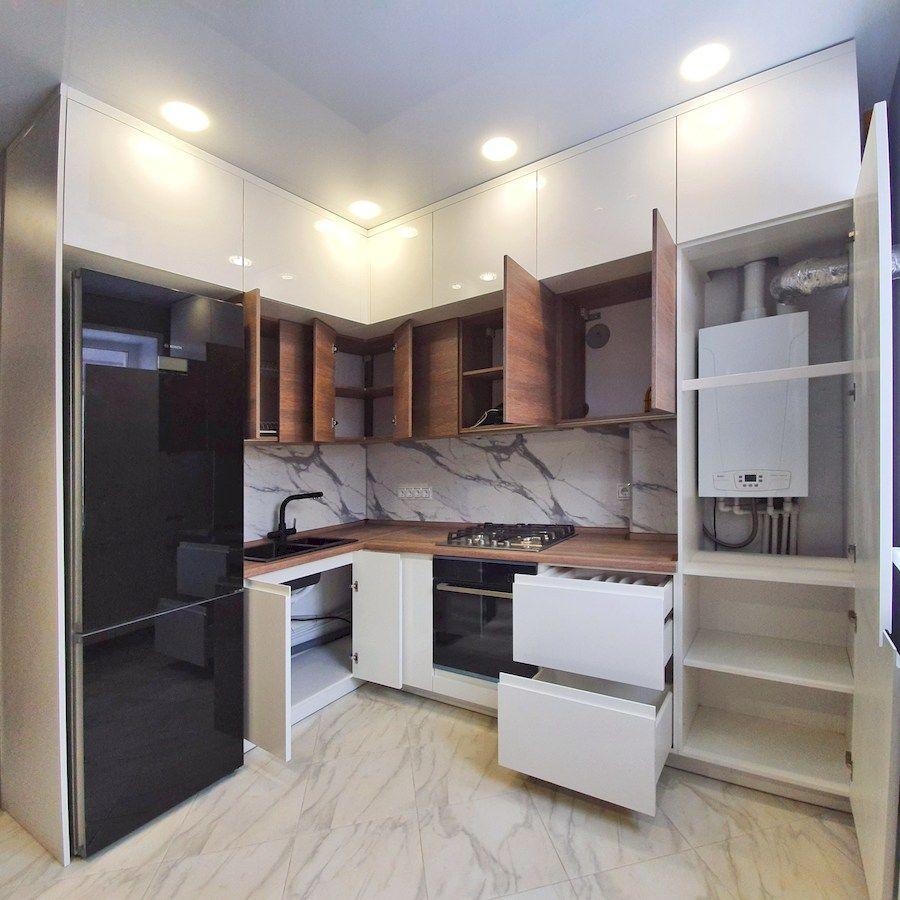 Белый кухонный гарнитур-Кухня МДФ в эмали «Модель 554»-фото5