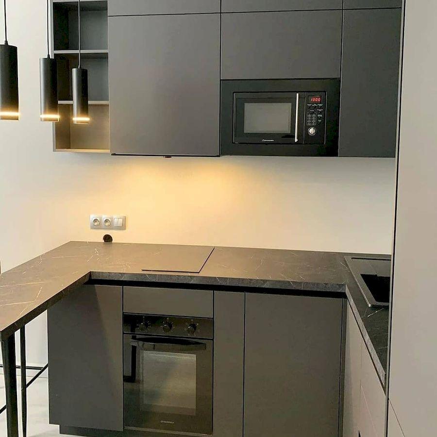 Высокие кухни под потолок-Кухня МДФ в ПВХ «Модель 677»-фото3